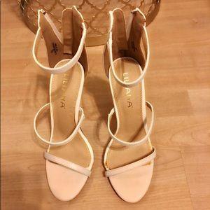 White three strap heels